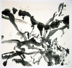 Zao Wou-Ki, Untitled, India Ink on Rice Paper Mounted on Paper, 2005 White Art, Black And White, Georges Pompidou, India Ink, Art Moderne, Expo, Rice Paper, Brush Strokes, Oeuvre D'art