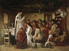 Aloysius O'Kelly,  misa en una cabaña de Connemara , 1883-1884, National Gallery, Dublín
