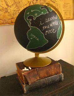 Bolas del mundo #DIY... con pintura de pizarra • Halligan's chalkboard globe