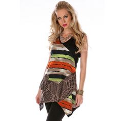 Women's Multi-print Spliced Tunic | Overstock.com Shopping - The Best Deals on Sleeveless Shirts