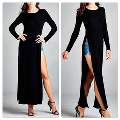 Restocked  Black Maxi Dress Tunic Amazing over leggings especially leather or liquid leather . NWOT. Micro ribbed stretch material light weight and very stretchy . Please comment for a personal listing in your size . Vivacouture Tops