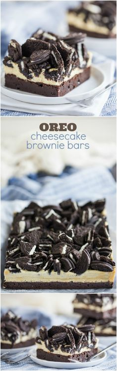 Oreo cheesecake brownie bars - are SO indulgent and GOOD! I could not get over how fudgy and chocolate-y the brownie layer was, and the creamy cheesecake plus Oreos was amazing! If you know a cookies & cream lover, definitely make them these bars! Brownie Recipes, Cheesecake Recipes, Cookie Recipes, Chocolate Desserts, Fun Desserts, Dessert Recipes, Chocolate Torte, Layered Desserts, Chocolate Cheese