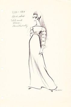 House of Nina Ricci Original Vintage Fashion Sketch Stat Sheet  X33-553 on Etsy, $50.00