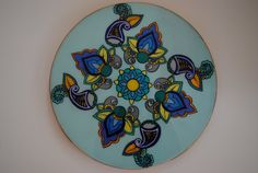 Hand Painted Wooden Lazy Susan Henna Designs in blues by LoveandAcrylics, $75.00 hand painted housewarming gift wedding gift personalized one of a kind @LoveandAcrylics on Instagram