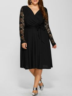 Plus Size Lace Sleeve High Waist Dress in Black | Sammydress.com