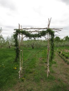 """Our birch arbor adorned with feathery garland of light-textured greenery. Great for the """"enchanted forest"""" look."""
