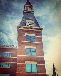 The clock tower at Baylor University's Baylor Sciences Building
