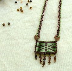 Forest green micro macrame necklace on hand by MammaEarthCreations