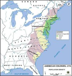 American Colonies Population Map 1775