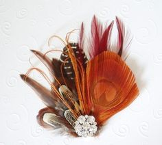 Fall Wedding Feather Fascinator Bridal Hair Clip by WeeGardens, $36.00