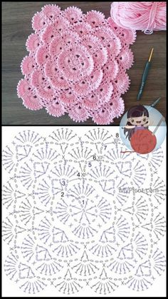 Crochet Motif Patterns, Granny Square Crochet Pattern, Crochet Chart, Crochet Squares, Crochet Designs, Crochet Flower Tutorial, Crochet Instructions, Crochet Flowers, Crochet Doilies