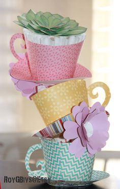 Stacked paper Teacups Table Decorations Girls Tea Party, Tea Party Birthday, Tea Parties, Tea Party Table, Party Cups, Paper Tea Cups, Mad Hatter Tea, Mad Hatters, Alice In Wonderland Party