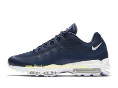 online store 1aa3c e4565 Nike Air Max 95 Ultra Essential Chaussures Officiel Basket 2019 Pas Cher  Pour Homme Bleu Blanc