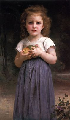 Bouguereau 'Little girl holding apples in her hands' 1895
