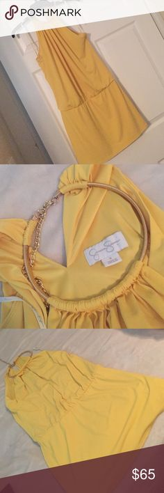Jessica Simpson beautiful yellow mini dress Worn one I love this dress you can also wear it with black tights Dresses Mini