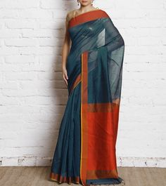 Blue Banarasi Handwoven Cotton Silk Saree