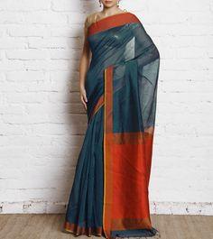 Blue Banarasi Handwoven Cotton Silk Saree
