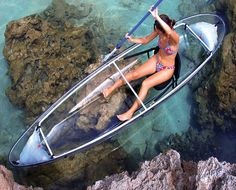 Finally you can own a personal glass bottom boat. With the Clear Blue Hawaii Molokini Kayak it is technically not a glass bottom boat, but an entire kayak created out of clear polycarbonate with an aluminum frame. Imagine the fun of sliding along in this Vacation Trips, Dream Vacations, Vacation Spots, Romantic Vacations, Italy Vacation, Romantic Travel, Blue Hawaii, Hawaii Life, Hawaii Hawaii