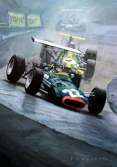 Gallery of artist Yuriy Shevchuk: 1968 German GP Nürburgring Brabham Brabham-Repco Courage BRM Sport Cars, Race Cars, Motor Sport, Automobile, Car Posters, Vintage Race Car, Car Drawings, Automotive Art, Indy Cars