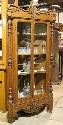 Solid Oak Carved Corner Glass China Cabinet w Fancy Carved Side Pillars Crown | eBay