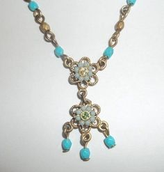Antiqued Gold and Turquoise Vintage Style Necklace | Jenstardesigns - Jewelry on ArtFire