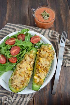 Calabacitas rellenas de quinoa y elote www.pizcadesabor.com #healthyrecipes
