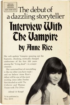 A deceptively sweet-looking Anne Rice in the pre-publication copy of Interview With The Vampire, 1976.