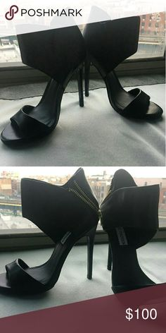 """Mai Tai Chic 5"""" stilleto open toe heel, with ankle cuff, and symmetrical gold zipper detail.  The perfect accent to holiday dresses, casual party gear, or night out. Steve Madden Shoes Heels"""