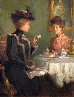 Ladies having tea ~ Painting by artist Walter Granville Smith (American painter, 1870-1938)