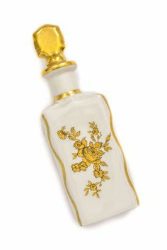 White and Gold Floral Perfume Bottle in off white color with detailed roses on front. Vintage Costume Jewelry, Vintage Costumes, Vintage Jewelry, Off White Color, New Today, Vintage Home Decor, Chinoiserie, Vintage Designs, Perfume Bottles