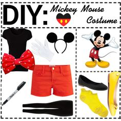 """DIY: Mickey Mouse Costume!"" by tiptasic-hipster-tipsters on Polyvore"