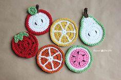 Crochet Fruit Coasters by Sarah Zimmerman