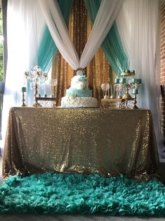 Birthday Decorations, Wedding Decorations, Wedding Ideas, Blue Birthday Parties, Dessert Tables, Curtain Designs, Sweet 16, Getting Married, Backdrops