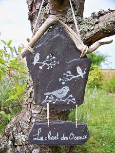 suspension en ardoise naturelle pour le jardin-le chant des oiseaux- : Accessoires de maison par troglodyte-mignon