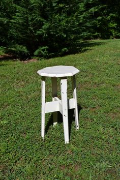Vintage Small Wood Table White Chippy Paint Shabby by PanchosPorch, $45.00