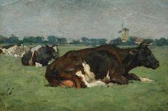 Jan Voerman sr (1857-1941):  Rustend IJsselvee