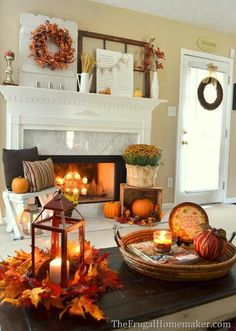 Decorating a fall themed fireplace mantle. http://www.nabtik.com/ideas-for-decorating-small-fall-bedroom-decor/southern-bedroom-ideas-fall-bedroom-decor-small-bedroom-paint-color-ideas-fall-decorating-ideas-for-the-home-560x786/