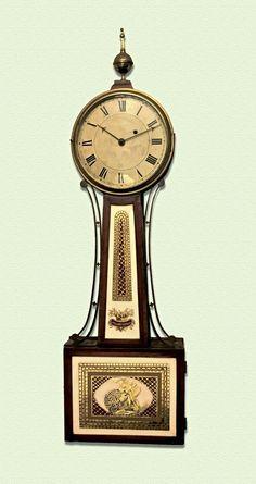 "Willard School Patent Timepiece ""Banjo Clock"" (c.1815-20) | Collectors Weekly Old Clocks, Antique Clocks, Classic Clocks, Clock Shop, Banjo, Antiques, Jr, Memories, Watches"