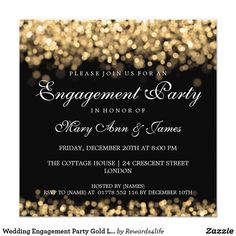 Elegant Christmas Party Gold Shimmering Lights Card Elegant Christmas Party / Wedding / Dinner Party Invitation template with Gold Shimmering Lights. Impress your friends with this sophisticated and elegant invitation design. Dinner Party Invitations, Christmas Invitations, Engagement Party Invitations, Beautiful Wedding Invitations, Elegant Invitations, Invitation Ideas, Invitation Cards, Invites, Invitation Design
