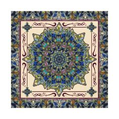 This wrapped canvas features an stained glass pattern mandala in plum burgundy, blue and pale terracotta.