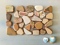 Genuine Sea Pottery, Terracotta , Tiles in earthy colors, 29 pieces Sea Urchin Shell, Terracotta, Earthy, No Response, Art Projects, Tiles, Mosaic, Pottery, Colors
