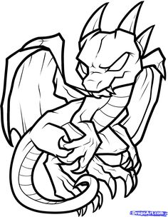 Dragon Coloring Pages | How to Draw an Anthro Baby Dragon, Anthro Baby Dragon…