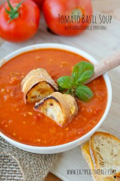 Tomato Basil Soup with Grilled Cheese Croutons: A comforting and delicious soup with added fun in the form of grilled cheese croutons. My kids loved this one. - Eazy Peazy Mealz