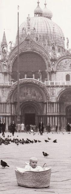 Baby Sabina at San Marco Square in Venice