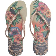 HAVAIANAS Slim Tropical Metallic // Flip flops with print ($32) ❤ liked on Polyvore featuring shoes, sandals, flip flops, havaianas flip flops, metallic thong sandals, metallic gold shoes, toe thongs and rubber sandals