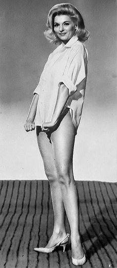 Nancy Kovack (Barbara, showing off her uniform, a men's tuxedo shirt, pantyhose, and high heels).  Fine with me.