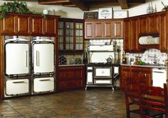 Love the AGA MARVEL fridge, but why such crappy kitchen cabinets to go with it? Yuck!