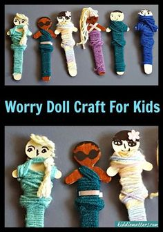 Quick and Easy Worry Doll Craft For Kids.  These are great for use in play therapy.  These dolls help children who suffer from anxiety. They can also help kids who have suffered childhood trauma.