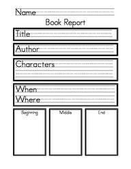 book report for kindergarten
