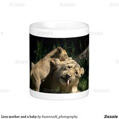 Lion mother and a baby classic white coffee mug Lion Coffee, White Coffee Mugs, Custom Mugs, Classic White, Tea Cups, Shop, Baby, White Coffee Cups, Baby Humor